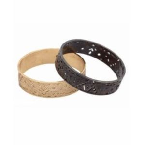 House of Harlow Pattern Bangle Set in Gold/Black